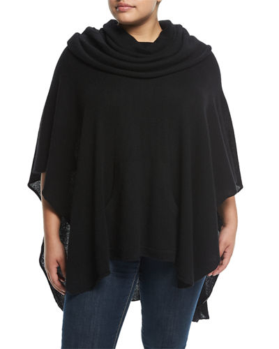 Cashmere Pull-On Poncho, Plus Size