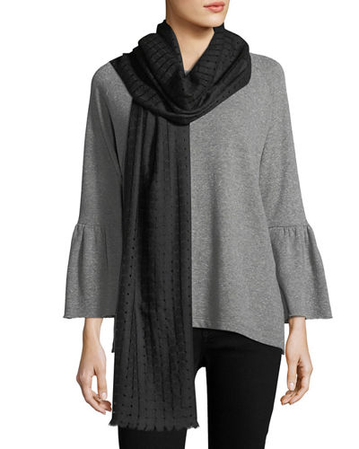 Cashmere Open-Weave Fringe Scarf