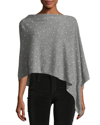 Wool-Cashmere Blend Pearlescent Studded Poncho