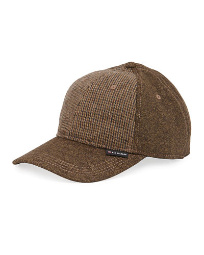 Wool-Blend Plaid-Front Baseball Cap