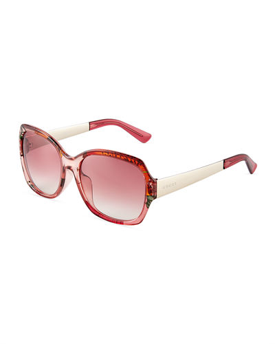 Floral-Interior Gradient Square Sunglasses