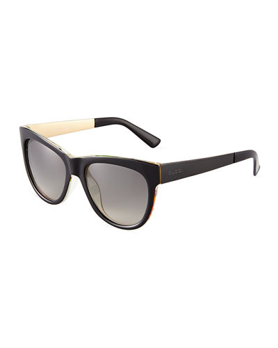 Metal-Trim Squared Butterfly Sunglasses