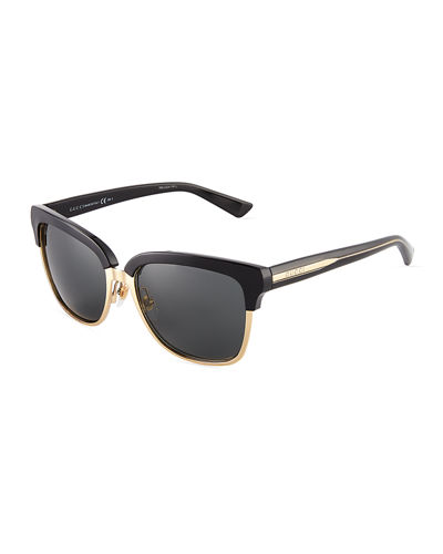 Plastic/Metal Square Sunglasses
