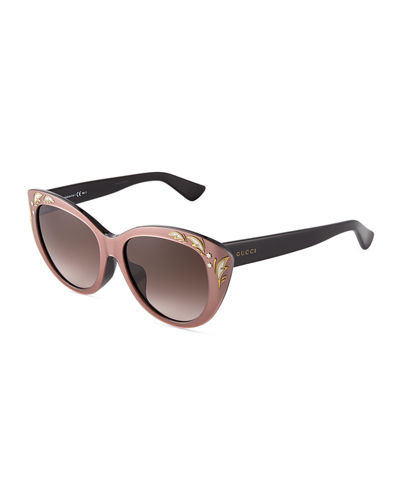Embellished Plastic Cat-Eye Sunglasses