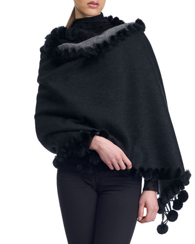 Cashmere/Wool Fur-Trim Double-Face Stole