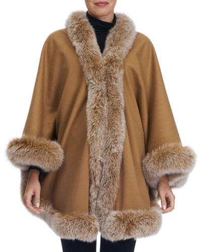 Wool Fur-Trim Capelet