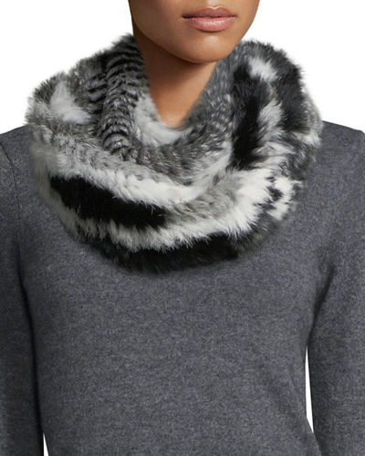 Striped Rabbit Fur Infinity Scarf