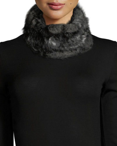Snowtop Rabbit Fur Knitted Stretch Cowl