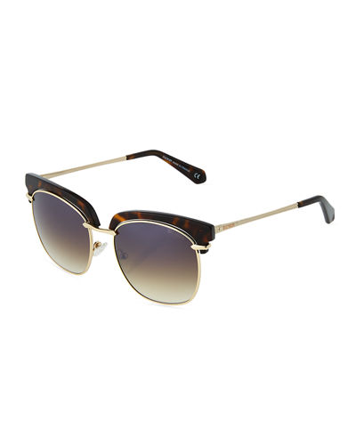 Plastic/Metal Cat-Eye Sunglasses