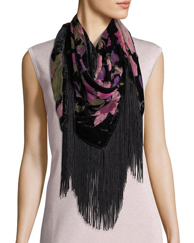 Winter Botanical Burnout Floral Fringe Scarf