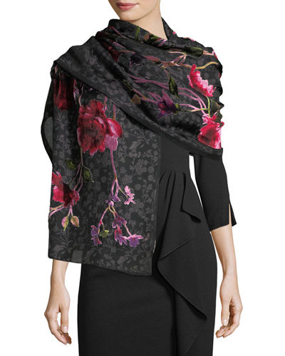 Roses Burnout Floral Pattern Wrap
