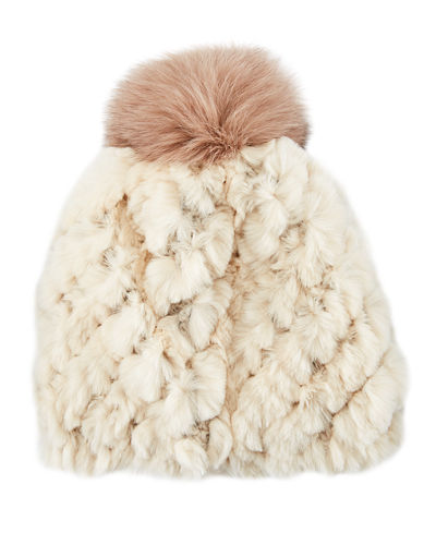 Knitted Rabbit Fur Beanie with Fox Fur Pompom