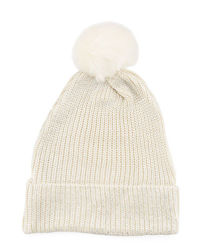 Metallic Painted Knit Hat w/Faux-Fur Pompom