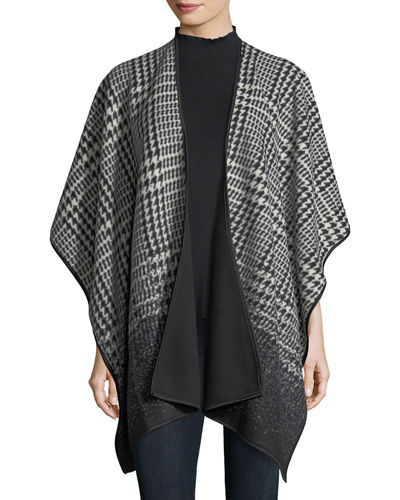 Houndstooth Fleece Open-Front Poncho