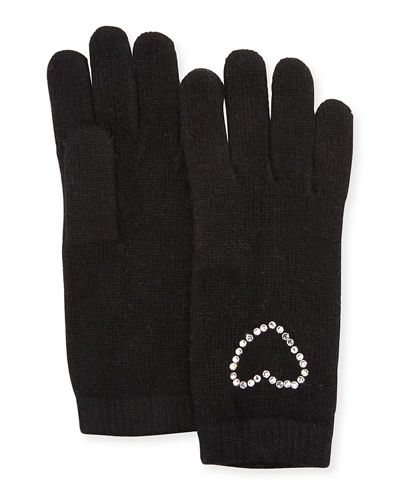 Crystal Heart Cashmere Gloves