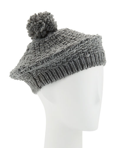 Solid Knit Beret with Pompom