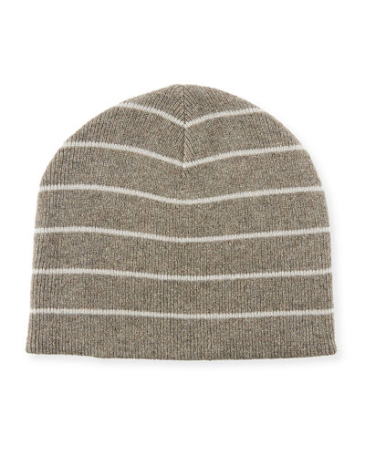 Cashmere Reversible Stripped/Solid Beanie