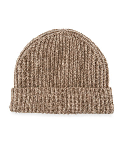 Marbled Cashmere Rib-Knit Beanie Hat