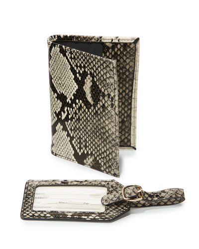 Boxed Set Python Embossed Passport Holder & Luggage