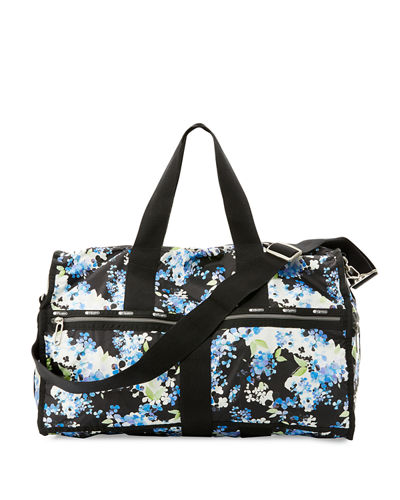 Floral Print Large Weekender Bag Black Pattern