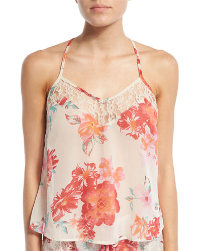 Floral-Print Chiffon Racerback Camisole