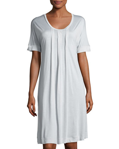 Marta Pleated Short-Sleeve Nightgown