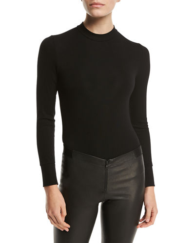 Ribbed Stretch Long-Sleeve Bodysuit