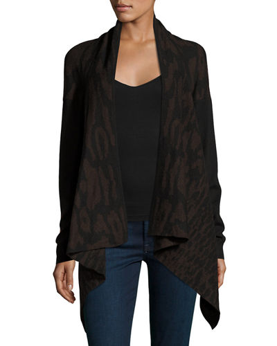 Printed Drape-Front Cardigan, Black/Brown