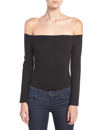 Off-The-Shoulder Long-Sleeve Bodysuit