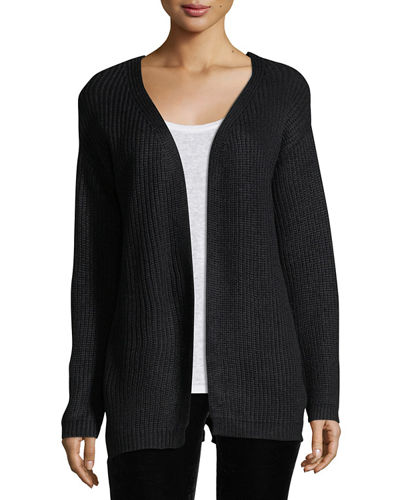 Melange-Knit Cardigan w/Lace-Up-Back