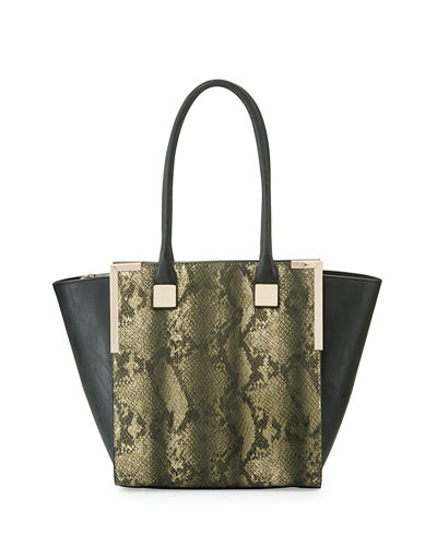 Wing-Side Faux-Leather Tote Bag
