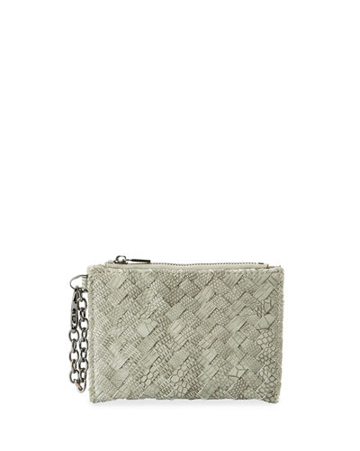 Woven Faux-Leather Reptile Keychain Pouch