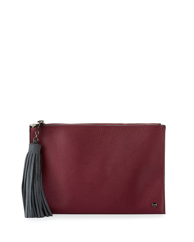 Faux Saffiano Leather Pouch w/Tassel