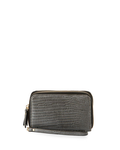 Exotic Double-Zip Faux-Leather Wristlet