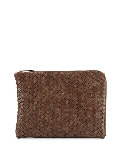 Woven Reptile Faux-Leather Pouch