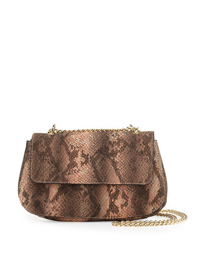 Snake-Embossed Faux-Leather Crossbody Bag
