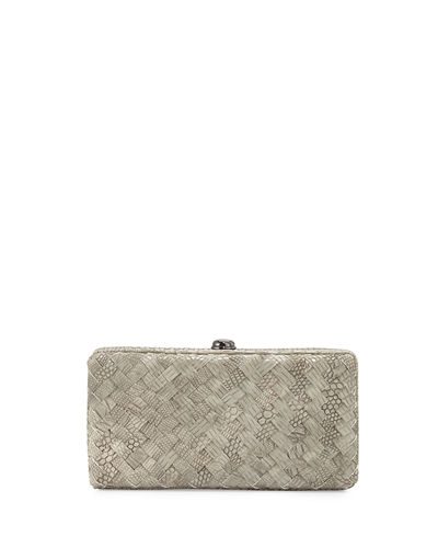 Woven Reptile Faux-Leather Clutch Bag