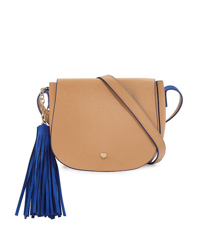 Faux-Leather Tassel Saddle Bag