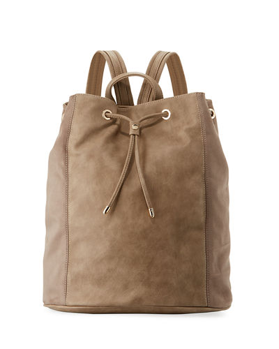 Faux-Leather Drawstring Bucket Backpack