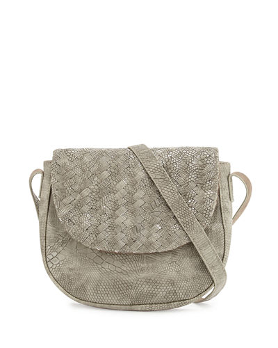 Woven Reptile Faux-Leather Saddle Bag