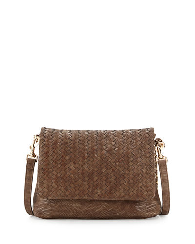 Woven Faux-Leather Reptile Shoulder Bag
