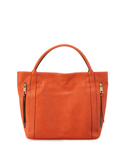 Double-Zip Faux-Leather Tote Bag