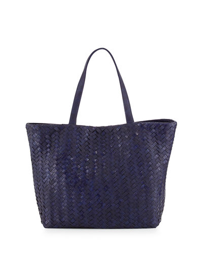 Woven Faux-Leather Reptile Tote Bag