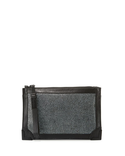 Frankie Leather Zip-Top Wristlet