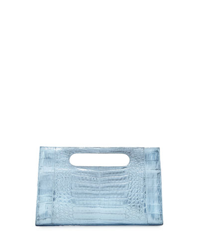 Top-Handle Crocodile Clutch Bag
