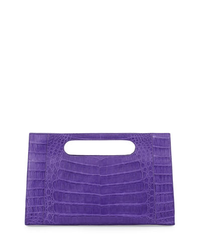 Open Top Crocodile Clutch Bag