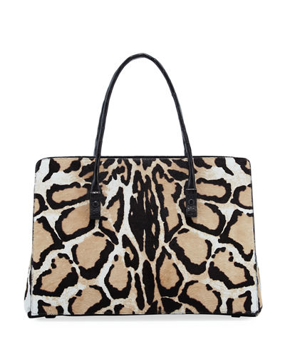 Printed Calf Hair Crocodile Tote Bag
