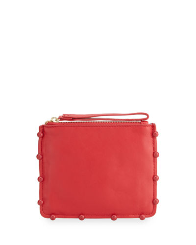 Tabitha Ball-Trim Leather Clutch Bag
