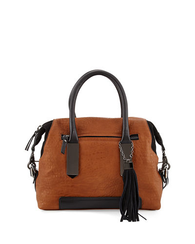 Camden Suede-Trim Satchel Bag