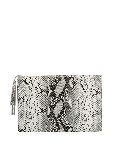 Ellie Snake Embossed Tassel Clutch Bag